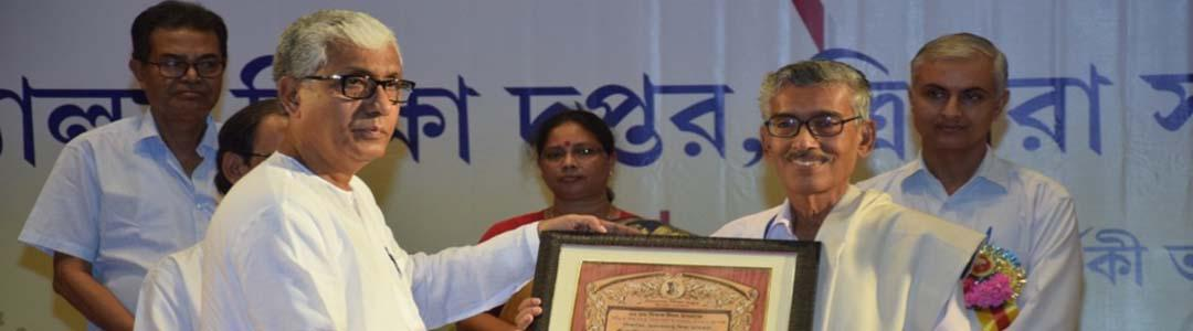Hon'ble Chief Minister felicitating eminent educationist and ex-Director, School Education, Govt. of Tripura, on the occasion of