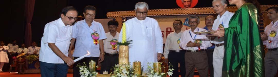 Dignitaries lighting the inaugural lamp during celebration of 55th Teachers, Day, 2016